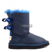 KIDS Bailey Bow Metallic Blue